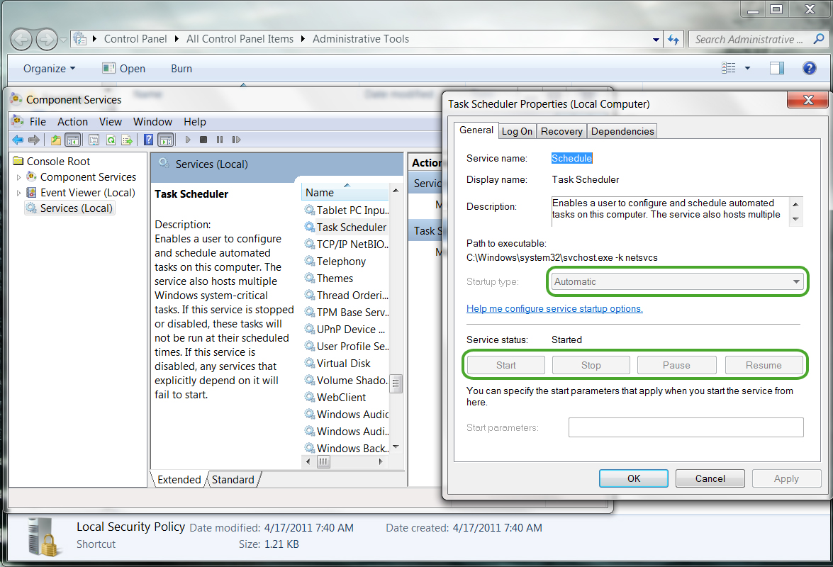 how to start task scheduler service in windows 7
